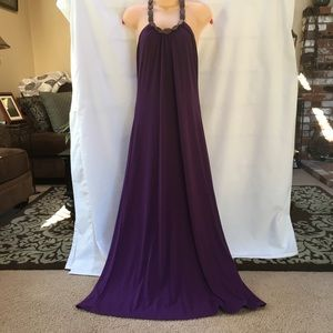 Dresses & Skirts - Summery Purple Maxi Dress w/Brown Wooden Bead Neck
